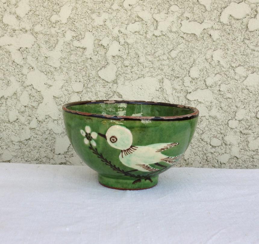 ●南仏の陶器-緑釉ボウル
