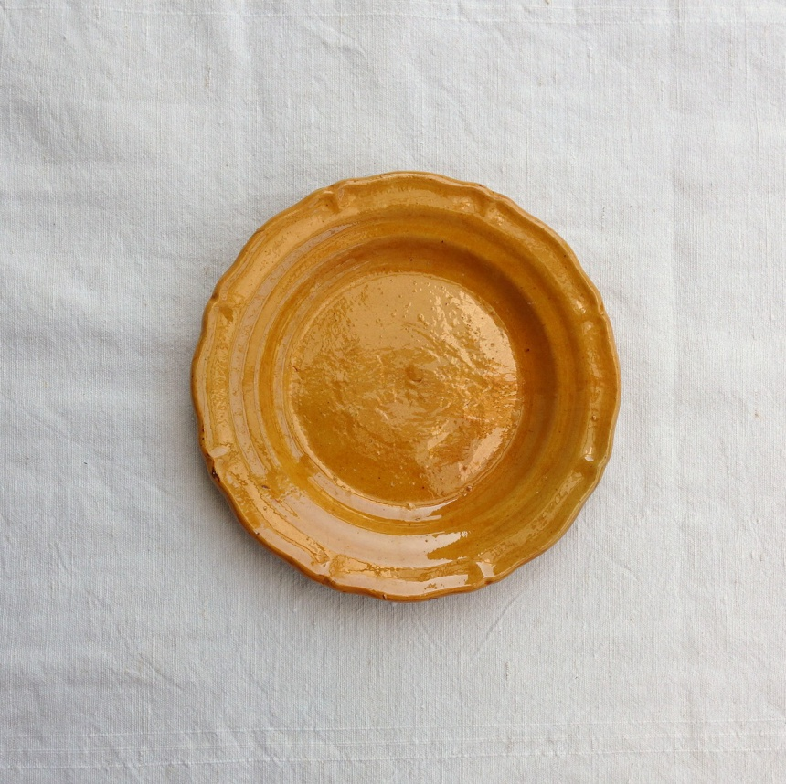 ●南仏の陶器-黄皿(平皿)