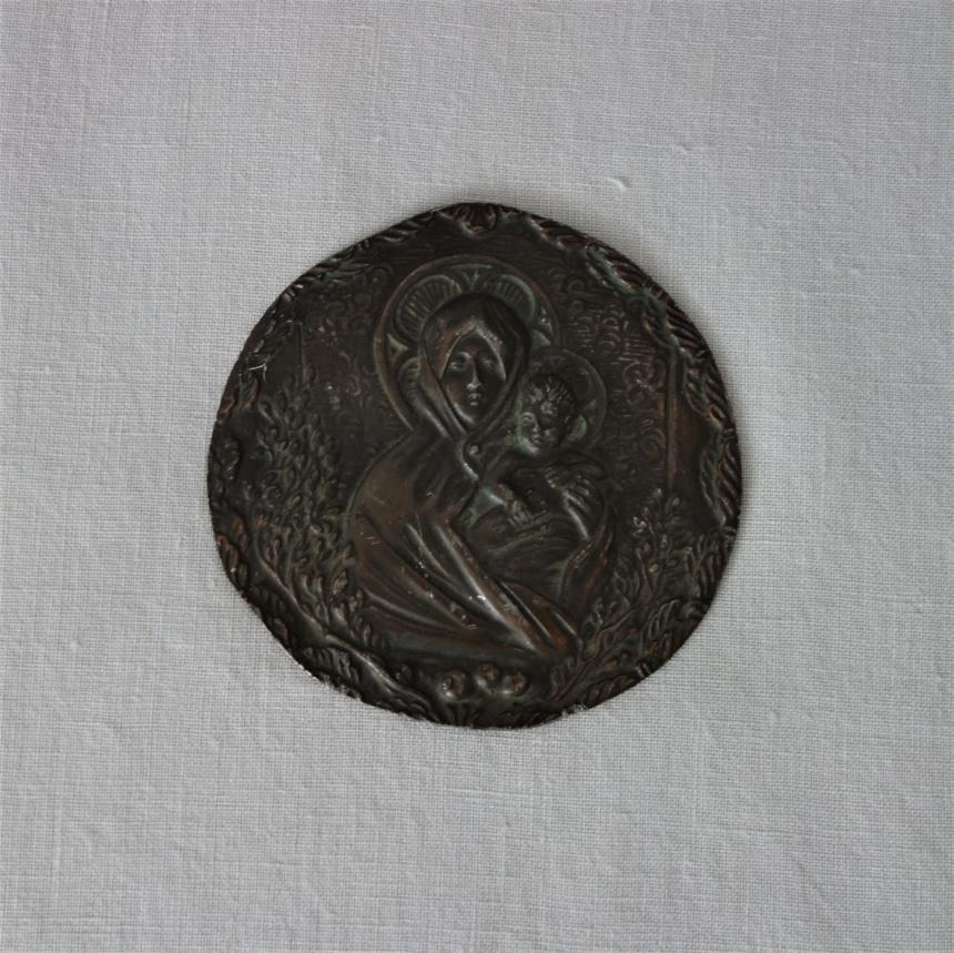 """●フランス古道具 """" P """" 宗教品-聖母子銅板"""