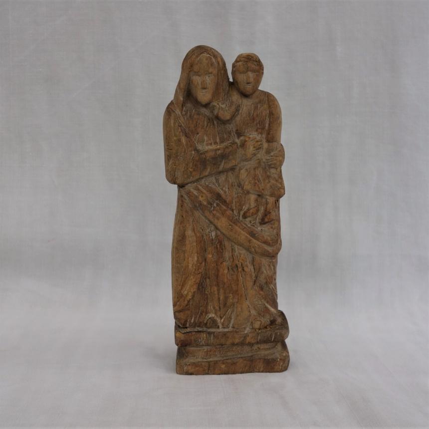 """●フランス古道具 """"S"""" 宗教品-木彫聖母子像"""